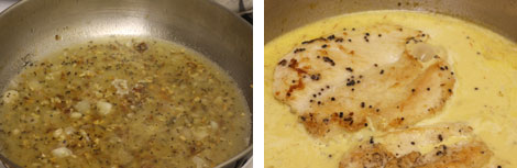 Image 1: Garlic, shallots, and spices simmering in a stainless steel pan of chicken broth and white wine; Image 2: Two sauteed chicken cutlets in a pan of saffron cream sauce (yellow color)