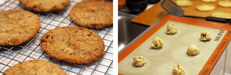 Image 1: Baked Almond White Chocolate Chunk cookies on a wire cooling rack over white paper towels; Image 2: Silpat-lined cookie sheet with six drops of cookie dough spaced out over the sheet