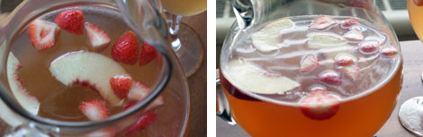 Images of white peach sangria with strawberries and sliced white peaches in a glass pitcher
